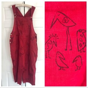 VTG Chicos red duck print linen overall / jumpsuit